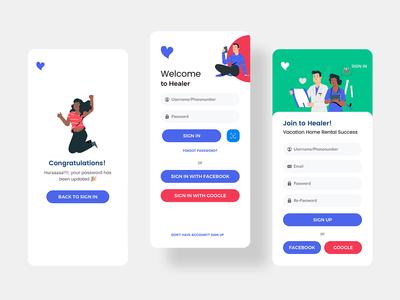 Healer 2 Sign In - Sign Up ui template mobile minimal kit iphonex ios healer design app