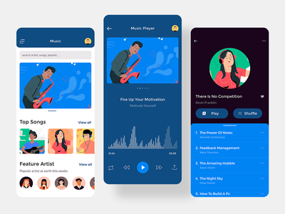 Claka Music ui template sketch mobile ui kit ios music claka