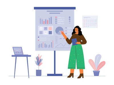 Woman is reporting work with chart on board illustration vector board chart work reporting