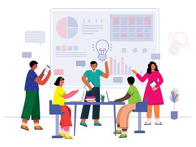People happy teamwork to analyze work efficiently