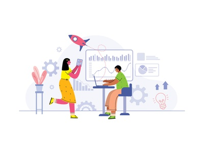 Cheerful girl and boy planning a startup vector chart settings grow startup planning boy girl