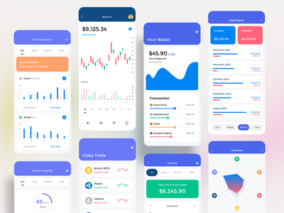 Claka Statics Dashboard dashboad statics clean ux template kit ui app mobile claka