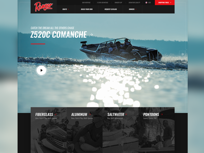 Ranger Boats Homepage aem responsive home fishing boating navigation ux ecommerce homepage website