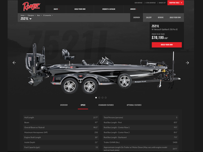 Ranger Boats Model Page responsive ecommerce website ui ux product model
