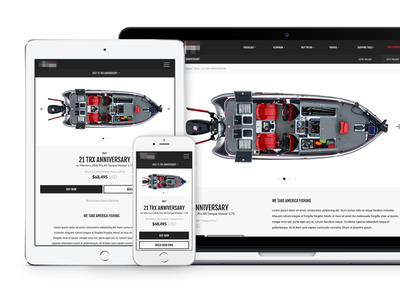 Performance Fishing Model Page mobile boat fishing ui website responsive ux product page model page