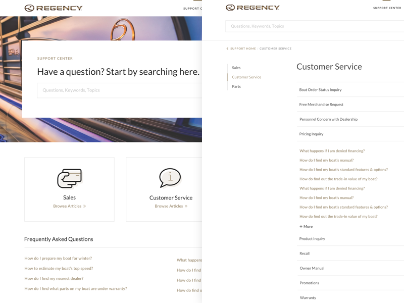 Regency Boats Customer Support ui ux reponsive website faq support