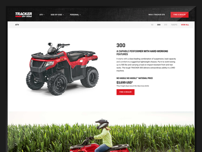 Tracker Off Road Website produce ui atv product page landing page responsive ecommerce web design website ux