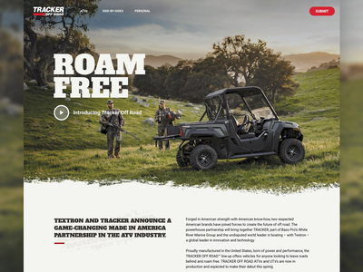 Tracker Off Road Website Iteration ecommerce atv design landing page responsive web design website ui