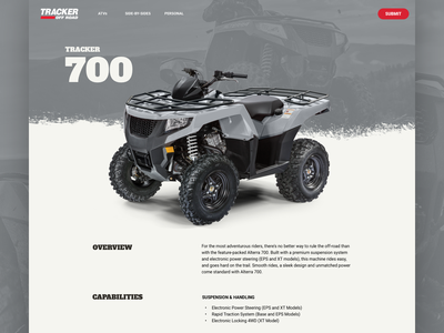 Tracker Off Road Model Iteration iteration model page atv e-commerce landing page web design responsive website ui ux