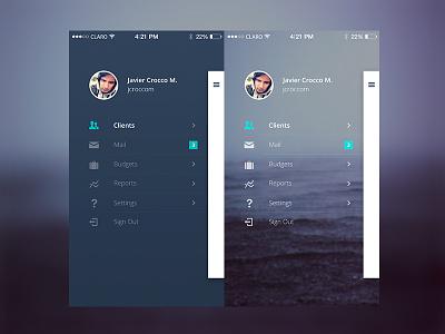 Sperant mobile sidebar concepts mobile menu sperant app crm mobile sidemenu sidebar ui lima peru menu