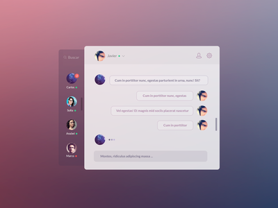 Chat App chat widget design ui lima users ios user interface peru icons application