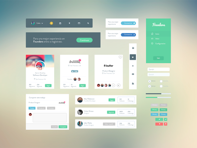 Founders UI Kit founders startup ui lima peru flat blur form flat design nav kit ui kit