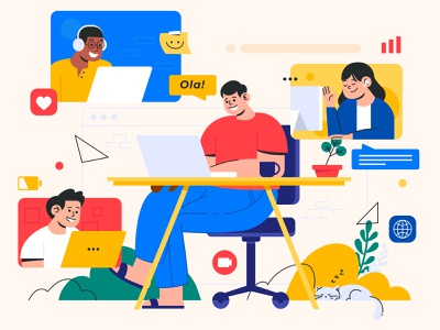 Conference Rooms - Illustration services characters chat flat illustration flat design branding illustration remote work conference design conference video art illustrations illustrator ui design ui designer ux interface design