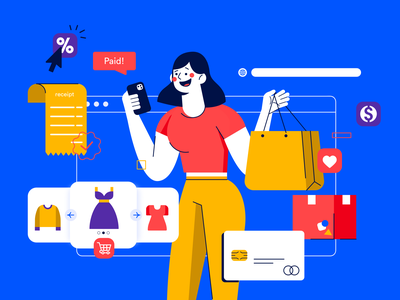 E-Commerce - Illustration shop character illustrator receipt credit card cart shopping ecommerce flat design flat illustration ui design fintech vector finance illustration designer ux ui interface design