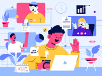 Illustration   Conference Call sass vibrant color schedule blue services video call call meeting remote work conference character design illustration vector flat design ui design designer ui ux interface design