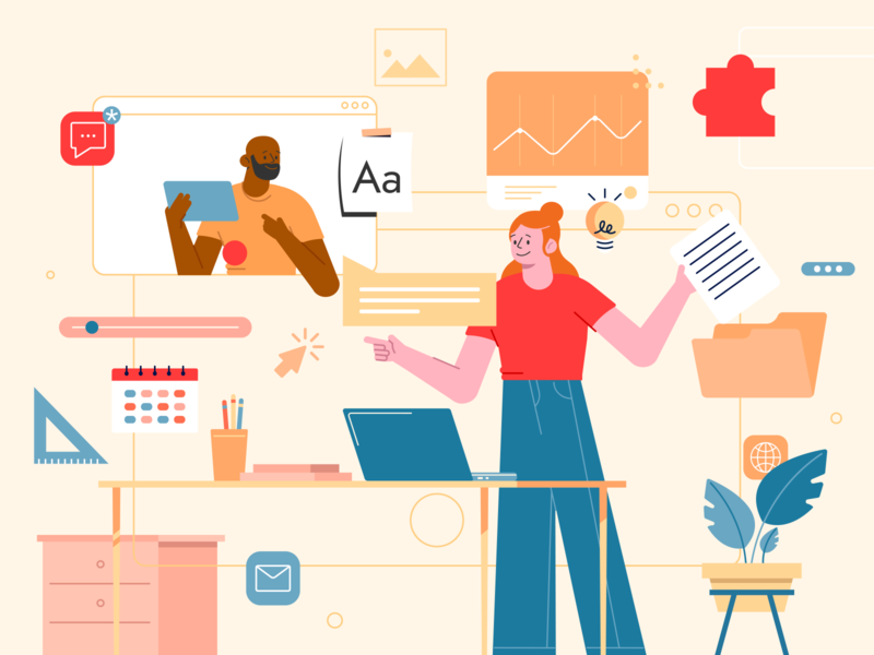 Remote Working - Illustration presentation education conference services illustrator meet call video work remote work remote vector illustration flat design ui design designer ux ui interface design