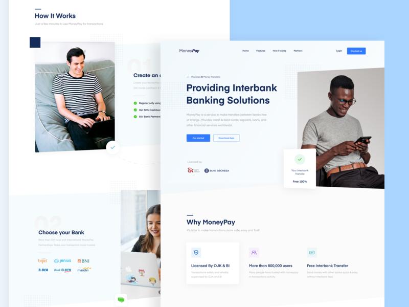 MoneyPay - Landing Page minimal interface blue fintech finance web design website web branding design ux ui landing page debut shot
