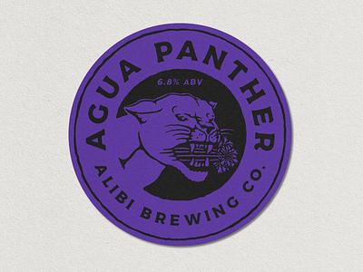 Design for Alibi Brewing Co. panther typography design vntage vector illustration vintage logo hand drawn design branding badge logo