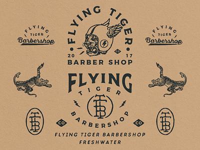 Branding Designs for Flying Tiger Barbershop hand drawn badge logo vintage design vntage branding vector typography logo illustration design