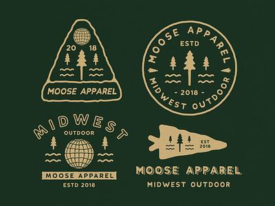 Bundle Outdoor for Moose Apparel outdoorapparel outdoor vector illustration badge logo logo vintage typography hand drawn design vntage design branding