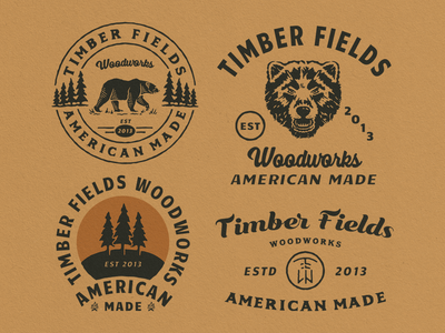 Designs for Timber Fields Woodworks vintage vector outdoorapparel outdoor logo typography hand drawn branding design badge logo