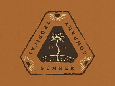 Tropical Summer Company tropical vector surf illustration vintage typography logo hand drawn design branding badge logo