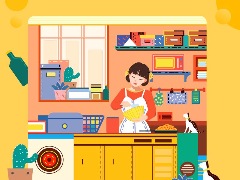 轻松的厨房 ui illustration