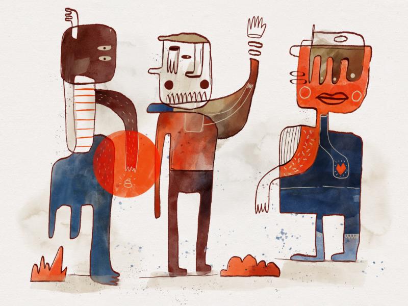 Three Folks doodles illustration