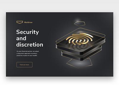 Private banking site discretion icon fingerprint redshift cinema4d website ui bank banking 3d design landing page illustration