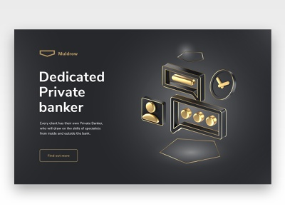 Private banking site, private banker icon financial service finance banking website private equity redshift animation cinema4d branding illustration banking bank 3d website landing page design