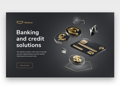 Private banking site, credit solutions icon creditcard card credit banking website redshift illustration cinema4d banking bank 3d website landing page design