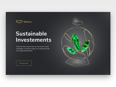 Private banking site, sustainable investements icon crystal emerald green sustainable illustration banking website redshift cinema4d banking bank 3d website landing page design
