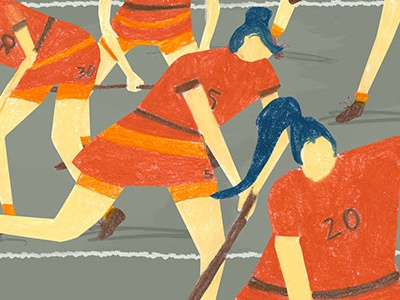 Training_ Field Hockey women ball sport uniform orange field hockey