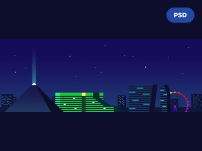 Vegas! CES 2015 las vegas skyline illustration buildings city psd free
