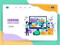 Smart farming and Online market concept. Landing page design.