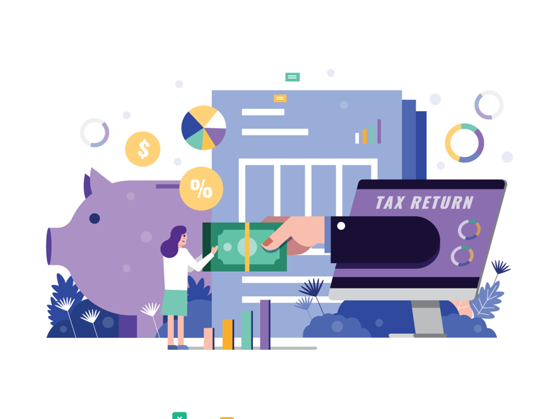 Tax return business calculation design graphic vector payment tax taxes