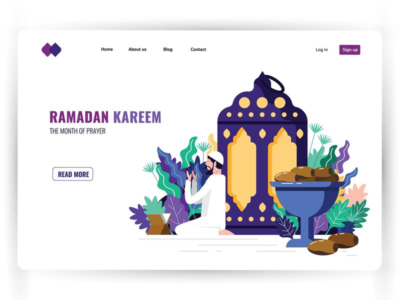 Month of Ramadan : landing page pray prayer nature webpage ux header page website graphic character vector design illustration landing page arab ui ramadan kareem ramadan