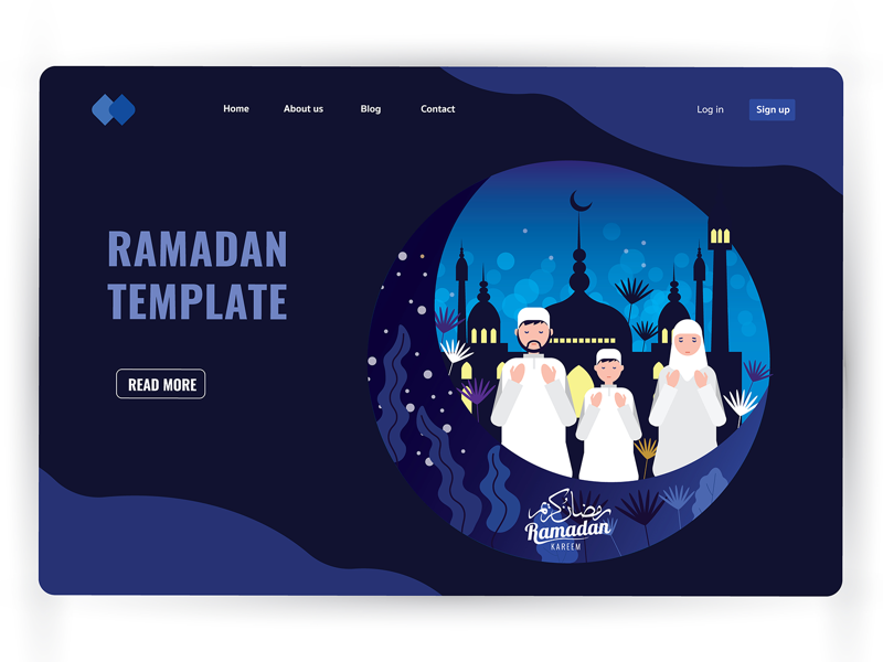 Ramadan night architecture templates ux ui header page landing page website character vector illustration flat masjid design nature children family people prayer ramadan