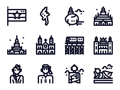 Myanmar outline icons