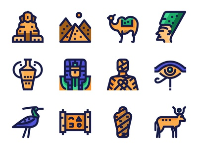 Ancient Egypt Icon Set.