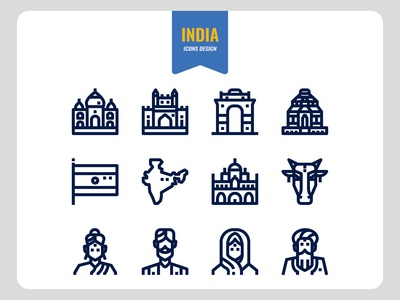 India outline icons