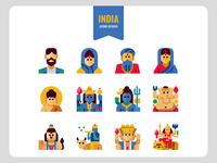 India Avatar and Hindu God icons