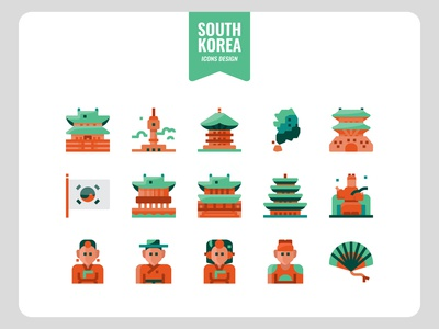 Korea flat icons