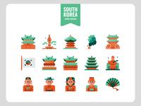 Korea flat icons