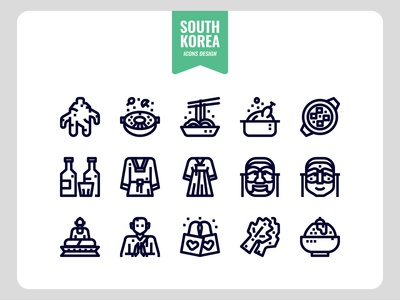 South Korea Outline Icon Set