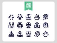 South Korea Outline Icon Set