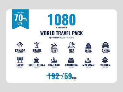 World travel icons bundle