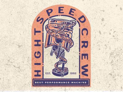 """illustration """"skull piston """" hight speed crew"""