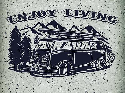 enjoy the living vintage bus volkswagen merchandise icon typography design illustration