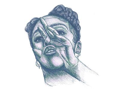 FKA TWIGS sketch illustrator artwork drawing ink art